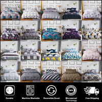 Reversible Duvet Cover Set With Pillow Cases single Double King Super King Size