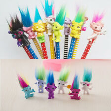 6pcs Chromatic Cartoon Lucky Troll Doll Pencil Topper Mini Action Figurines