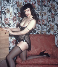 Vintage Stereo Realist Photo 3D Stereoscopic Slide NUDE Bettie Page Black Lace