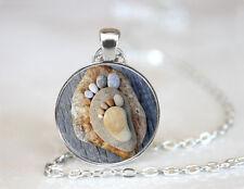 Vintage Stone Feet Picture Cabochon Tibetan silver Glass Chain Pendant Necklace