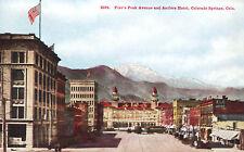 Pikes Peak Avenue & Antlers Hotel c1918 Postcard Colorado Springs Trolley