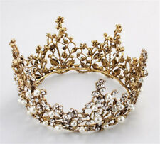 Black Round Tiara Wedding Crown Crystal Hair Accessories Headpiece Jewelry Gold