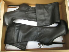 TOPSHOP Barley black leather thigh high over the knee boots size 4 UK 37 EU