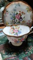 Royal Albert Bone china England Floral Gold Brush Tea Cup Rose floral- Nosegay-