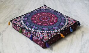 """20X20"""" Indian Floor Pillow Cotton Cushion Cover Dog Bed Cover New Mandala"""