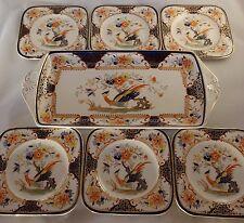 Vintage Woods Denbigh Exotic Birds Gilded Sandwich Set Tray & 6 Square Plates VG