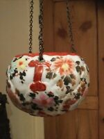 Beautiful Antique Oriental Imari Jardiniere - Hand Painted Hanging Porcelain Pot