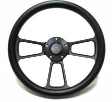 "14"" Black Leather Steering Wheel w/ Black Chevy Engraved Horn Button"