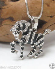 Horse pony zebra galloping silver enamel charm pendant crystal necklace D146