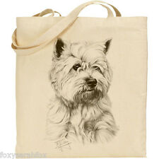 Highland/Westie West Mike Sibley DOG Print Cotone riutilizzabile Shopping/Spiaggia Tote