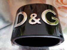 ❤️ DOLCE & GABBANA D&G Black Resin Silver Tone Logo Hinged Bracelet