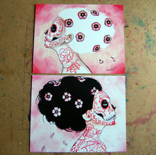 Set of TWO 8x10 in Signed Art Prints Never Tell Sugar Skull Set by Carissa Rose
