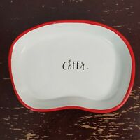 Rae Dunn Cheer Christmas Soap Dish Holiday Trinket Candy Tray White Red Dot New