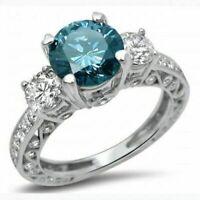 2.65Ct Round Cut Blue Diamond Three-Stone Engagement Ring 14k White Gold Finish