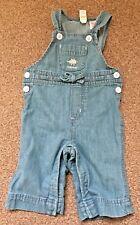 Girls Baby Gap Light Blue Denim Dungarees Trousers Age 3-6 Months B80