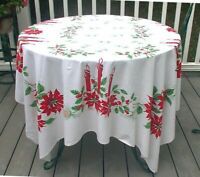 Vintage Christmas Tablecloth White Green Red Candles Poinsettias Holly