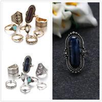 Set of 8 Ring Boho Knuckle Fashion Tophus Heart Love Diamond Thumb Stack Jewelry