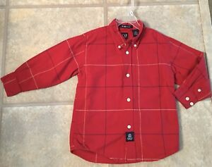 Gap Boy's Size XS (4) Red Button Down Long  Sleeve Collared 100% Cotton Shirt