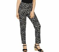 Isaac Mizrahi Live! 24/7 Stretch Leopard Print Ankle Pants (Grey, 16) A293939