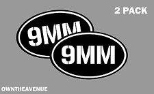 "9mm oval Ammo Can -2 PACK - 5""x3"" Oval 9mm Vinyl Sticker Decal"