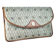 Auth Christian Dior Clutch Trotter PVC Canvas, Brown Leather Secondary Bag Purse