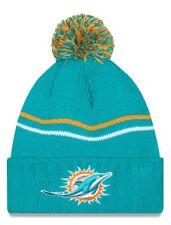 """Miami Dolphins New Era NFL """"Logo Crisp"""" Cuffed Knit Hat with Pom"""