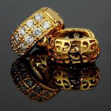 Boucles d'OREILLE ZIRCON Créoles BLANC Plaqué Or 750 18 carats o1258