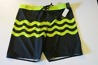NWT O'Neill Mens 38 Hyperfreak Green Black Surf Board Shorts Freak Fourteen
