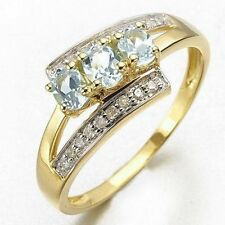 Bridal Size 8 Aquamarine Halo 10K Gold Filled Womens Fashion Wedding Ring Gift