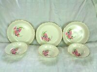 W. S. George Pottery Pink Caladium 3 Coupe Soup Bowl + 3 Fruit Bowl = 6 pieces
