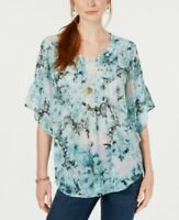 Style & Co. Women's Floral-Print Pintuck-Pleat Top Blouse Green, Size M, $55 NwT