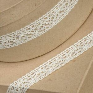 IVORY COTTON LACE RIBBON 25mm x 10 METERS FULL REEL CRAFTS CAKE DRESSMAKING