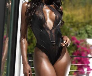 Honey Birdette Jordyn Playsuit Bodysuit Black Leather Lace Size Medium
