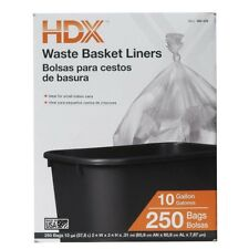 Waste Liner Clear Trash Garbage Bags 250 Count 10 Gallon Home Office Wastebasket