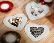 50 x Wedding Bomboniere Gift HEART DESIGN GLASS PHOTO COASTER 2per SET (100)