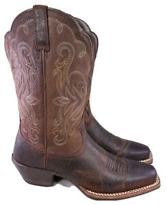 ARIAT LEGEND SQUARED TOE WOMAN BROWN LEATHER WESTERN COWBOY BOOTS SIZE 8 B