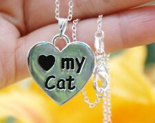 I Love My Cat Necklace Heart Paw Print Gift Paws Gift .925 Sterling Silver Chain