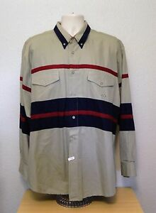 Roper Western Rodeo Shirt XL Tan Red Blue Stripes Long Sleeve Cotton CLEARANCE