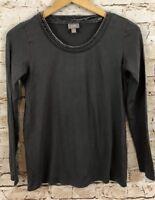 J Jill shirt top womens XS velvet trim collar gray long sleeve J9