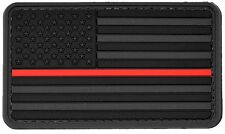 PVC Morale Patch US Flag With Red Line Black 3D Badge Hook & Loop #50 Paintball