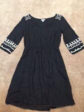 Womens Old Navy Black Embroidered Peasant Boho Dress Size Medium