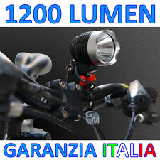 FANALE FARO TORCIA LUCE LED 1200 LM LUMEN PER BICI BICICLETTA FRONTALE CASCO a