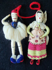 Greek Yarn Thread Miniature Man & Woman Dolls!  2! MINIATURE!  5 INCHES!  UNIQUE