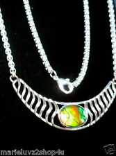 One Of A Kind !  18x13 Ammolite Solitaire Necklace Big & Heavy Free Ship In US