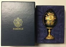 Faberge Gilded Cut Green Crystal Flowers Egg On Gilt Bronze Base In Original Box
