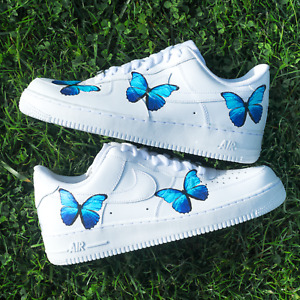 NIKE AIR FORCE 1 CUSTOM BLUE BUTTERFLY UNISEX SNEAKER FLOWER ROSES VANS