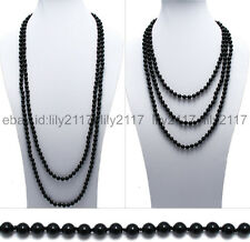 100 Inch Long Genuine Black Onyx  8mm Bead Stranded Necklace