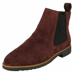 Ladies Clarks 'Griffin Plaza' Burgundy Suede Leather Chelsea Boots - D Fitting