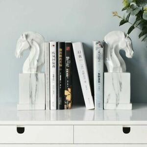 Nordic Horse Statue Book Stand Bookends Resin Craft Office Ornament 8.5x7x24.5cm