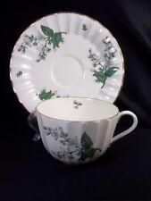 Royal Worcester Valencia bone china cup & saucer white gray flowers gold rim